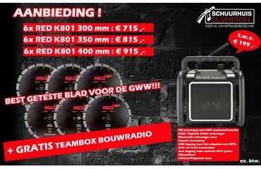 Gratis bouwradio t.w.b. € 199,-bij 6 zaagbladen!